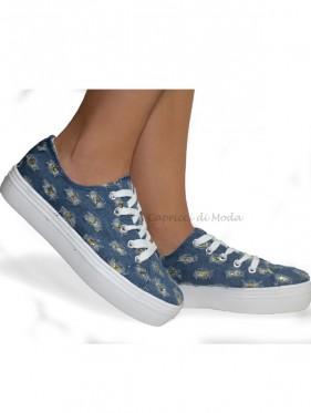Scarpa Lubecca in jeans sneakers con dettagli