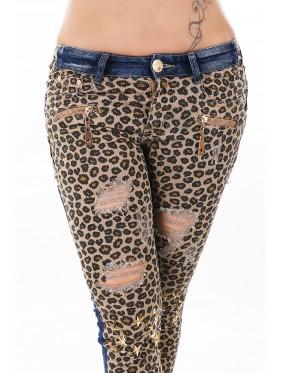 Jeans Colby leopardato con strappi
