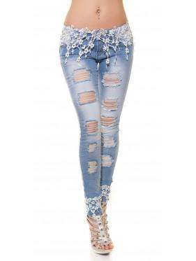 Jeans jenner bianco con pizzo e strappi