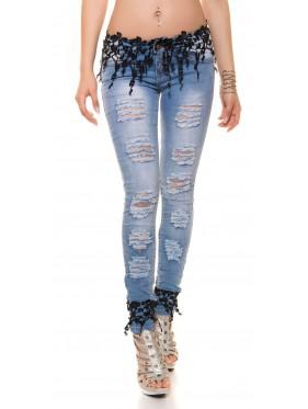 Jeans jenner nero con pizzo e strappi