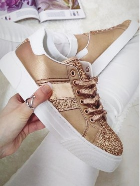 SNEAKERS CHAMPAGNE CON STRASS